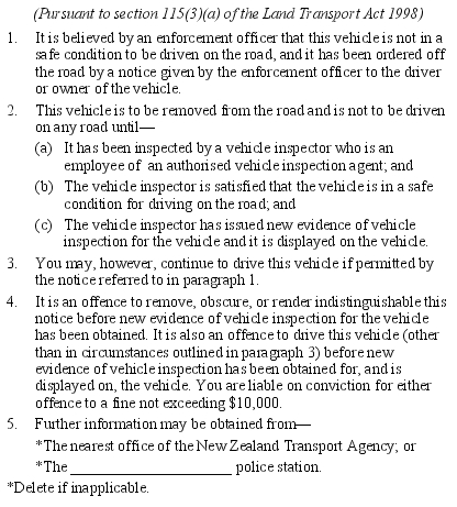 Land Transport Ordering A Vehicle Off The Road Notice  Sr