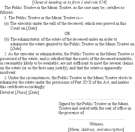 High court amendment rules no 2 1999 sr 1999382 new zealand general heading as in form 1 and rule 824 the public trustee or the maori trustee as the case may be certifies as follows 1 the public trustee or the yelopaper Choice Image
